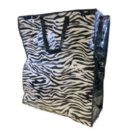 36 Units of Jumbo Vinyl Shopping Bag with Handles [Zebra] - Bags Of All Types