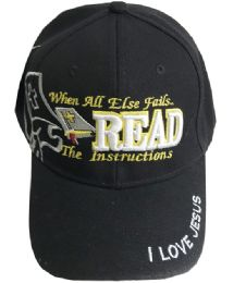 60 Units of When All Else Fail Read The Instruction Embroidered Cotton Baseball Cap - Baseball Caps & Snap Backs