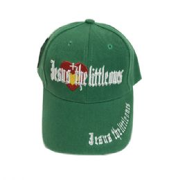 60 Units of Jesus The Little Ones Kids Baseball Caps Hats Embroidered In Assorted Color - Baseball Caps & Snap Backs