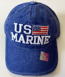 60 Units of Denim Hat Us Marine Baseball Caps Hats Embroidered In Assorted Color - Baseball Caps & Snap Backs