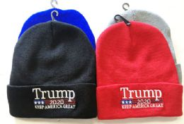 72 Units of Donald Trump 2020 Beanie Cotton Stretchy Baseball Hat Ski Winter Beanie Hat - Winter Beanie Hats