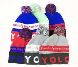 72 Units of Fashion Beanie Hat Yolo In Assorted Colors - Winter Beanie Hats