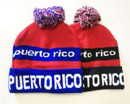 72 Units of Puerto Rico Winter Fresh Design Pom Cuffed Beanie Skull Cap In Assorted Color - Winter Beanie Hats