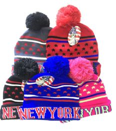 72 Units of New York Winter Fresh Design Pom Cuffed Beanie Skull Cap In Assorted Color - Winter Beanie Hats