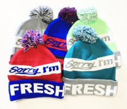72 Units of Im Fresh Winter Fresh Design Pom Cuffed Beanie Skull Cap In Assorted Color - Winter Beanie Hats