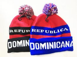 72 Units of Dominicana Winter Fresh Design Pom Cuffed Beanie Skull Cap In Assorted Color - Winter Beanie Hats