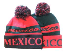 72 Units of Mexico Winter Fresh Design Pom Cuffed Beanie Skull Cap In Assorted Color - Winter Beanie Hats