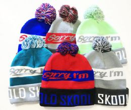 72 Units of Old Skool Winter Fresh Design Pom Cuffed Beanie Skull Cap In Assorted Color - Winter Beanie Hats