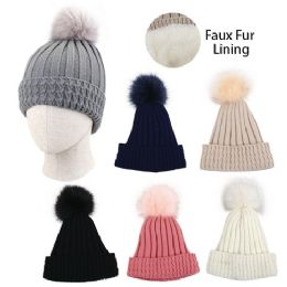 24 Units of Ladies Plush Lined Knitted Hat with Fur PomPom - Fashion Winter Hats