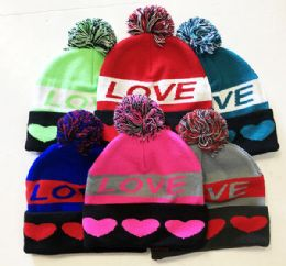 72 Units of Love Winter Fresh Design Pom Cuffed Beanie Skull Cap In Assorted Color - Winter Beanie Hats