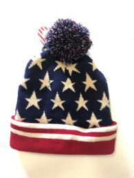 72 Units of US Flag Winter Fresh Design Pom Cuffed Beanie Skull Cap - Winter Beanie Hats