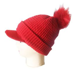 72 Units of Winter Beanie With Visor And Pom Pom Hat - Winter Beanie Hats