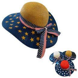 24 Units of Ladies Summer Americana Woven Hat with Bow - Sun Hats