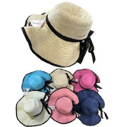 12 Units of Ladies Woven Hat [Black Trim/Black Bow] - Sun Hats