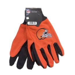 12 Units of Licensed Team Utility Gloves With Gripper Palm [cleveland Browns] - Working Gloves