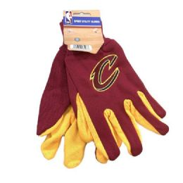 12 Units of Licensed Team Utility Gloves With Gripper Palm [cleveland Cavs] - Working Gloves