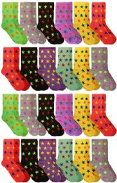 60 Units of 60 Pairs Womens Casual Crew Sock, Cotton Colorful Fun Patterns, Wholesale Bulk (60 Pairs Stars Print) Size 9-11 - Womens Crew Sock
