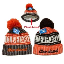 24 Units of Plush-Lined Knit Hat with PomPom [Script CLEVELAND B/O] - Winter Beanie Hats