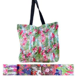 36 Units of Printed Shopping Tote Bag with Zipper - Bags Of All Types