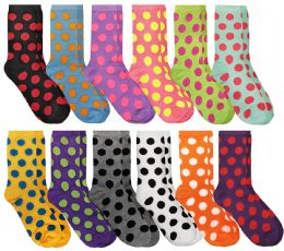 60 Units of 60 Pairs Womens Casual Crew Sock, Cotton Colorful Fun Patterns, Wholesale Bulk (60 Pairs Polka Dot Print) Size 9-11 - Womens Crew Sock