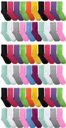 60 Units of 60 Pairs Womens Casual Crew Sock, Cotton Colorful Fun Patterns, Wholesale Bulk (60 Pairs Bright Neon Colors) Size 9-11 - Womens Crew Sock