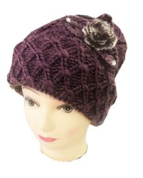 72 Units of Women Hat for Winter Lady Beanie Warm Crochet Knitted Flowers Assorted Color - Fashion Winter Hats