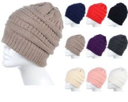 72 Units of Womens High Messy Bun Beanie Hat With Ponytail Hole, Winter Warm Trendy Knit Ski Skull Cap Assorted Color - Fashion Winter Hats