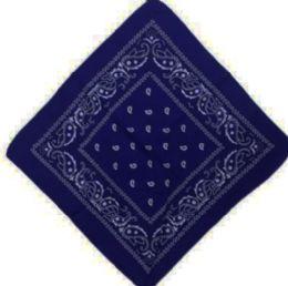 120 Units of Dark Blue Bandana Cotton Custom Fashion Paisley Design - Bandanas