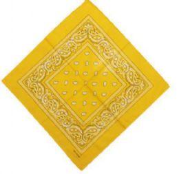 120 Units of Golden Yellow Bandana Cotton Custom Fashion Paisley Design - Bandanas