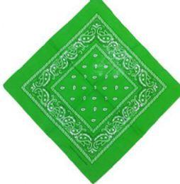 120 Units of Lawn Green Bandana Cotton Custom Fashion Paisley Design - Bandanas