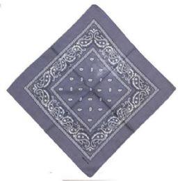120 Units of Gray Cotton Paisley Bandana - Bandanas
