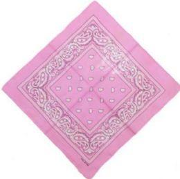 120 Units of Pink Cotton Paisley Bandana - Bandanas
