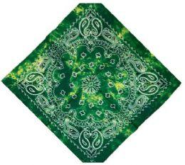 120 Units of Green Tye Dye Cowboy Bandana - Bandanas