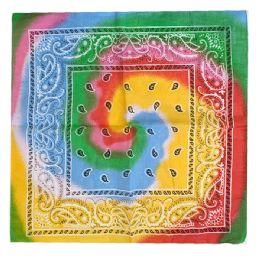 120 Units of Paisley Tye Dye Cowboy Bandana - Bandanas