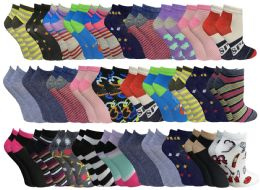 60 Units of 60 Pairs Womens Colorful Thin Lightweight Low Cut Ankle Socks, Patterned Assorted Size 9-11 - Women's Socks for Homeless and Charity