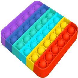 "24 Units of Push Pop Fidget Toy [rainbow Square] 5""x5"" - Educational Toys"
