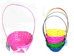 72 Units of Easter Basket Woven W/ Ribbon - Easter