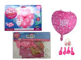 144 Units of 7pc Balloon Set Baby Girl - Balloons & Balloon Holder