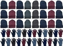 48 Units of Yacht & Smith Mens Warm Winter Hats And Glove Set Assorted Colors 48 Pieces - Winter Care Sets