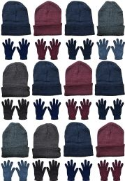 24 Units of Yacht & Smith Mens Warm Winter Hats And Glove Set Assorted Colors 24 Pieces - Winter Care Sets