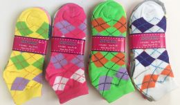144 Units of Short Grid Women Socks In Assorted Colors - Womens Ankle Sock