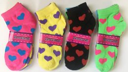 144 Units of Women Socks Heart Pattern In Assorted Colors - Womens Ankle Sock