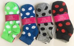 144 Units of Women Socks Dot Pattern In Assorted Colors - Womens Ankle Sock