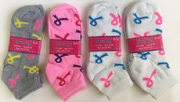 144 Units of Women Socks Breast Cancer Awareness In Assorted Colors - Womens Ankle Sock