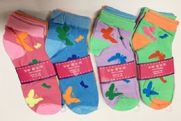 144 Units of Women Socks Butterfly Pattern In Assorted Colors - Womens Ankle Sock