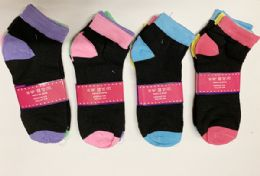 144 Units of Women Short Solid Socks In Assorted Colors Size 9-11 - Womens Ankle Sock