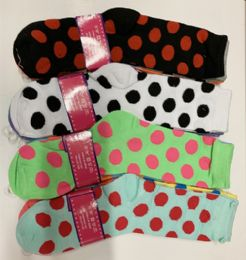 144 Units of Women Long Socks Dot In Assorted Colors Size 9-11 - Womens Knee Highs