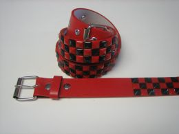 96 Units of Black And Red Checkerboard Studded Belt - Unisex Fashion Belts