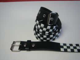 96 Units of Black And White Checkerboard Studded Belt - Unisex Fashion Belts