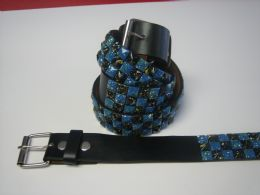96 Units of Blue And Black Checkerboard Studded Belt - Unisex Fashion Belts
